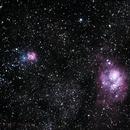 Lagoon & Trifid Nebula - Drizzle 2x,                                Carlos Ferraz