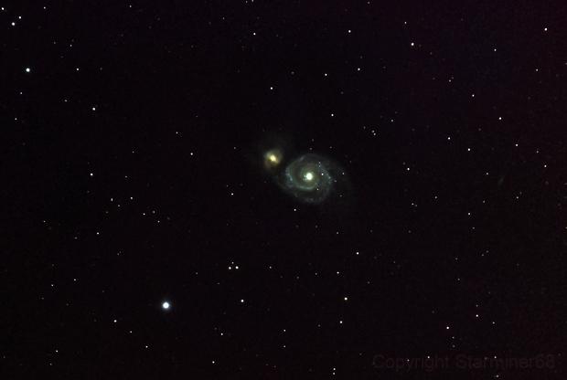 M51 Whirlpool Galaxy-RGB-Meade 80 ED triplet-Orion flattener-ASI 1600 MM-Pro-crop,                                Adel Kildeev