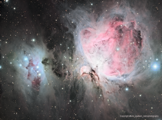 M42/M43, NGC1977. The Great Orion Nebula and The Running Man Nebula,                                Jay Hall