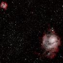 Lagoon nebula and Trifid nebula (M8 and M20),                                raulgh