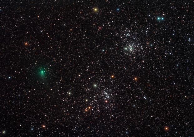 Comet PanStarrs (C/2017 T2) and the Double Cluster,                                Scott Tucker
