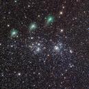 cometa C/2017 T2 Panstarrs mentre passa sopra il doppio Ammasso di Perseo, su 3gg,                                Rolando Ligustri
