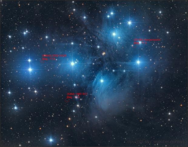 Pleiades M45 (Rev C with 3 Asteroids),                                sky-watcher (johny)