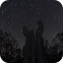 Star trails around the Monument to the Detachment in Brezovica Forest,                                Ivan Bosnar