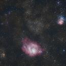 La nébuleuse de la lagune M8 et La nébuleuse Trifide M20,                                Didier SPREUTELS