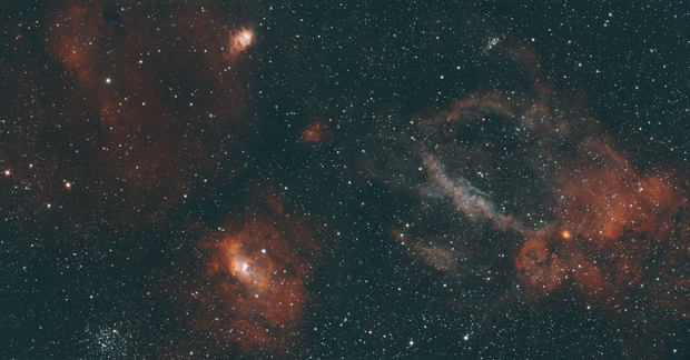 Lobster Claw & Bubble Nebula,                                404timc