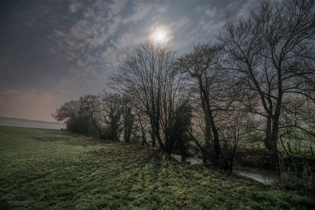 Misty Landscape with full Moon and Orion,                                Tristan Campbell