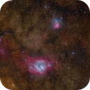 M8, the Lagoon Nebula and M20, the Trifid Nebula,                                Roger Clark