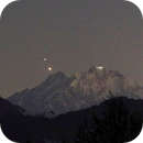 Jupiter + Saturn conjunction - Christmas Star over mountain Pilatus,                                AstroEdy