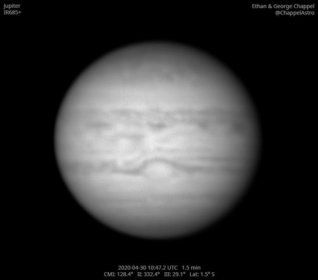 Jupiter in Infrared on April 30, 2020,                                Chappel Astro