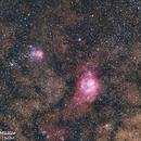 Lagoon and Triffid nebulas on 400mm,                                Samuel Müller