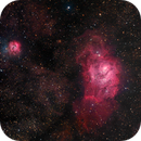 Wide-field image of Messier 8 and Messier 20 in HaRGB,                                Kevin Dixon