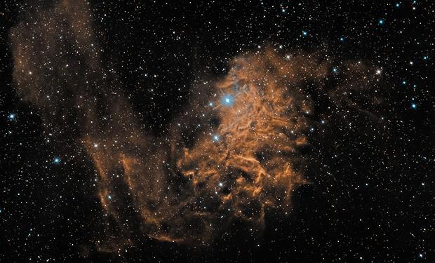 The Flaming Star Nebula - Narrowband and Broadband Combined,                                Stefan Böckler