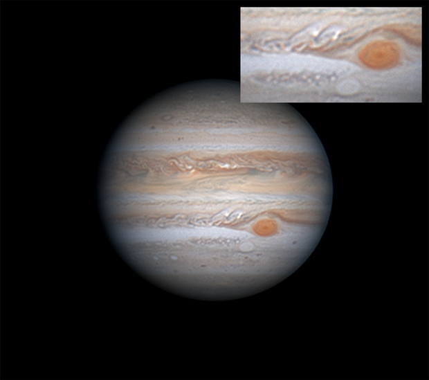 Jupiter: Oval BA approaching the GRS with 7 and 14 day comparison,                                Darren (DMach)