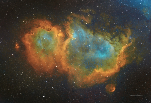 Westerhout 5 (Soul Nebula) panel 2x1 in HST (SII/Hα/OIII),                                Jose Carballada
