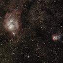 Lagoon and Trifid Nebula,                                AstroHel