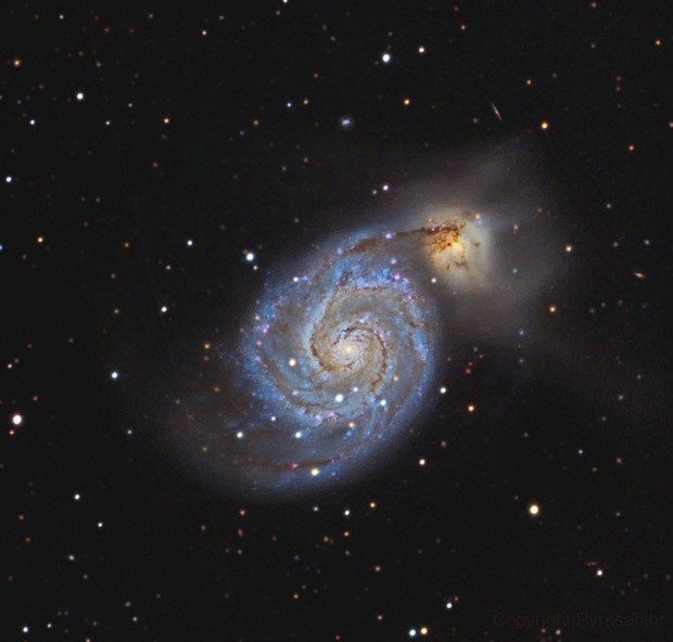M51 C14 Edge ASI6200 11 hours under a light polluted sky,                                Pyrasanth