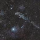 Witch Head Nebula and Rigel,                                bbright