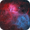 SH2-132 Lion Nebula in HOO with RGB stars (~23h),                                Sven Hoffmann