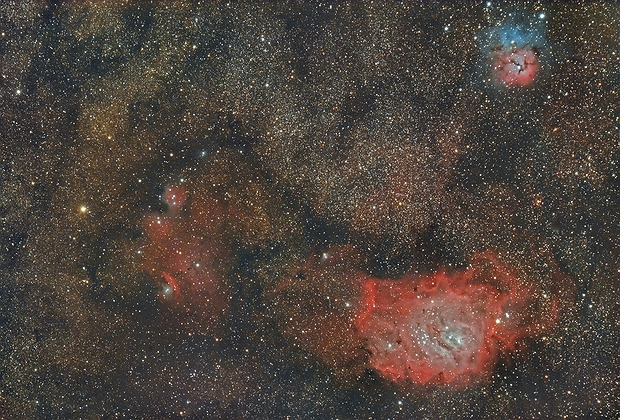 Lagoon Nebula (Messier 8) and Trifid Nebula (Messier 20),                                Henning Schmidt