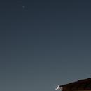 Saturn, Jupiter, crescent Moon, rooftops 2020-12-16,                                Marzo Varea