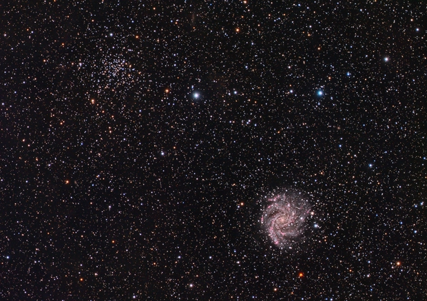 Fireworks Galaxy (NGC 6946) and Ghost Bush Cluster (NGC 6939),                                Luca Marinelli