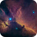 Flame and Horsehead Nebula in HSO narrowband,                                Mike