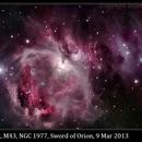 M42, M43, NGC 1977, The Sword of Orion (full dataset), 9 Mar 2013,                                David Dearden