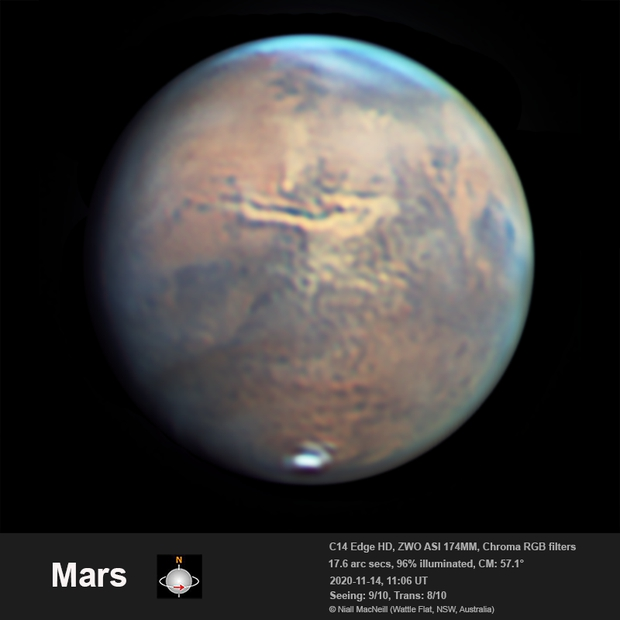 A dust storm brews in the Aurorae Sinus and spreads along the Vallis Marineris,                                Niall MacNeill