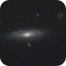 Andromeda galaxy and comparative size of the moon in the sky,                                Máximo Bustamante