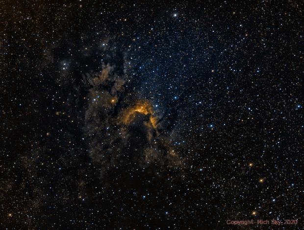 Cave Nebula or SH2-155 [SHO],                                Rich Sky