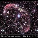 NGC 6888, Crescent Nebula, UHC-S, 8 Jul 2013,                                David Dearden