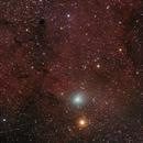Emeralds and Garnets  -  Comet Jacques meets Herschel's Garnet Star,                                Tony Cook