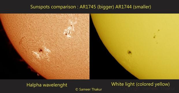 Sunspot AR1745 two views,                                thakursam