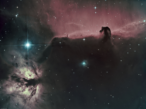 Horsehead nebula (IC434) & Flame Nebula (NGC 2024) Ha-SHO,                                Olivier Ravayrol