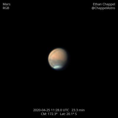 Mars on April 25, 2020,                                Chappel Astro
