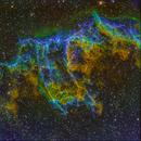 Fangs of Veil Nebula (NGC 6992) SHO @DSW,                                Miles Zhou