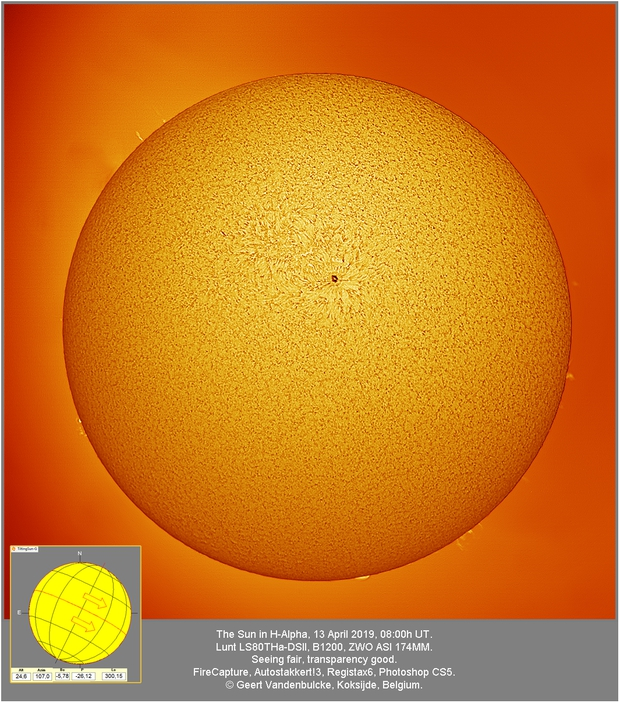 Sun in H-alpha, 20190413,                                Geert Vandenbulcke