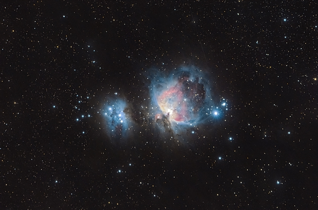 Orión nebula (M42) and running man nebula (NGC 1977),                                sebastan bolados
