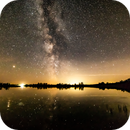 Milkyway over Black Nugget  Lake and Camrose light dome,                                Alan Hobbs
