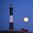 Thanksgiving Moonrise over Fire Island, Long Island,                                ks_observer