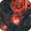 """NGC 3324/IC 2599/Gum 31/""""Gabriela Mistral"""" Nebula and NGC 3293/the """"Gem Cluster"""" in Carina,                                morrienz"""
