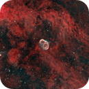 NGC 6888 + PN G75.5+1.7 ( Crescent Nebula and Soap Bubble ) in bicolor,                                D@vide