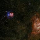 M8 M20 and M21 Trifid nebula and Lagoon nebula,                                Jeff Clayton