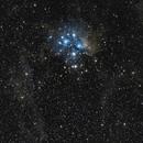 M45 - Pleiades star cluster  - widefield 135 mm,                                Álmos Balási