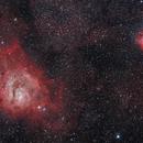 Lagoon and Trifid Nebulas,                                Jim Nadeau
