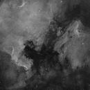 NGC 7000 North America Nebula and IC 5070 Pelican Nebula - Ha BW - Jun 2021 Mosaic v1,                                Martin Junius
