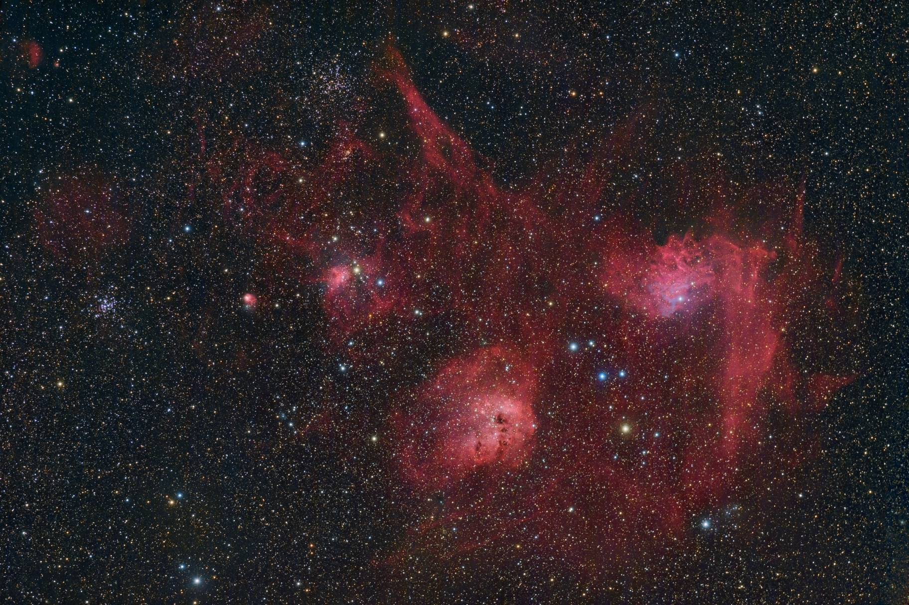 The Tadpoles, Flaming Star, Spider and Fly Nebulae  in Auriga,                                herwig_p