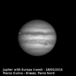 Jupiter with Europa transiting,                                Marco Gulino