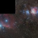 3 panels mosaic  , M42 + Horse head nebula,                                noodle